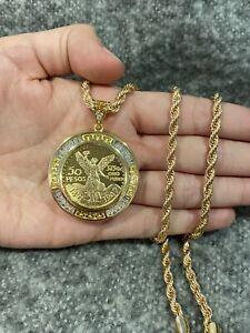 Gold PLATED Design CZ 50 Peso SMALL Mexican Coin CENTENARIO & Rope Chain
