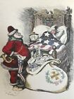 1905 UNCLE SAM'S CHRISTMAS DREAM SANTA CLAUS HARPER'S WEEKLY HAND-COLORED  PRINT