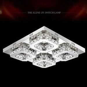 Modern 48W LED Crystal Ceiling Lights Pendant Fixture Living Room Chandeliers
