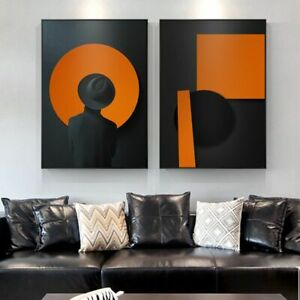 Wall Art Pictures Abstract Clip Art Hat Canvas Painting Print Black Orange Home