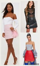 LADIES WOMENS ROSE PINK FAUX LEATHER A-LINE MINI SKIRT