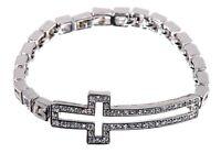 Swarovski Elements Crystal Harvey Pave Cross Bangle Bracelet Rhodium New 7115w