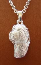 Sterling Silver Old English Sheepdog Head Study Pendant