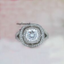 Mothers Day Engagement Ring 925 Silver 2.33 Ct Near White Cushion Moissanite