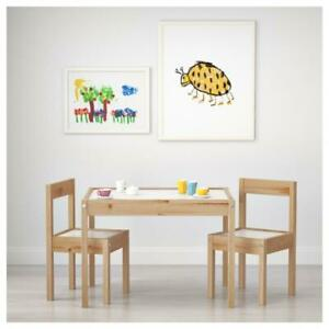 IKEA LÄTT Natural Wooden Children's Table With 2 Chairs Set White Pine For Kids