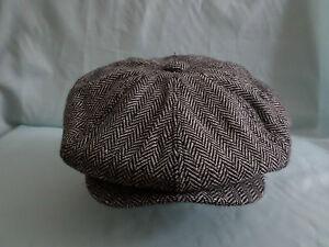 MENS GREY HERRINGBONE NEWSBOY  BAKER BOY  8-PANEL RETRO CAP ( HAT) 57 CM SMALL