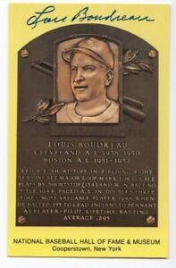 Lou Boudreau - MLB Hall of Fame - Autographed Hall of Fame Plaque Postcard