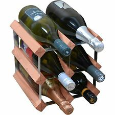 6 Bottle Traditional Wooden Wine Bottle Storage Rack - Assembled - Dark Wood
