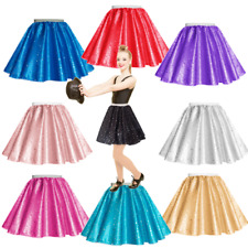GIRLS Pink Sequin Satin skirt Rock n Roll, DANCE, show, Party, Black, Blue, Red