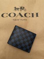Coach 6749 Men Wallet 3 In 1 (Color True Blue/Multi)  Checker Print NWT