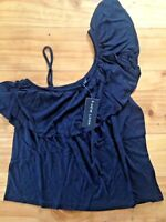 Women's New Look Size 10 Vest Top Frill Black Off Shoulder BNWT New With Tags