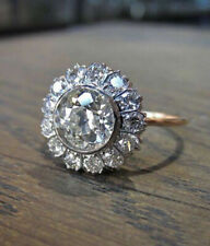 14k White Gold Over 925 Silver Women's Party Wear Jewelry Ring Round Diamond