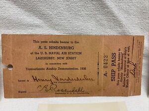 Rare A.S.Hindenburg 1936 Transatlantic Airship Demonstration Pass Plus 3 Photos