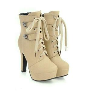 New Fashion Women Ankle Boots Combat Thick Heel Boots Shoes Woman Plus Size 3-18