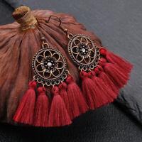 Women Boho Earrings Long Tassel Fringe Stud Drop Dangle Earring Fashion Jewelry