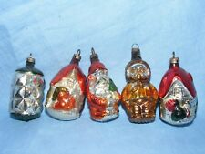 Vintage Old Glass Christmas Tree Decoration Bauble Santa Houses Snow Boy RARE