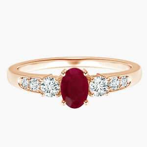 Oval Ruby Gemstone With Simulated Diamonds Ring 9k Rose Gold US-4