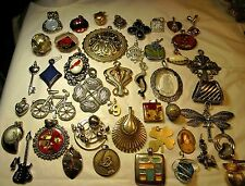 Jewelry Lot Vintage-128 Pendants Charms Gold/Silver Tone Gemstones Simulants MOP