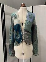 Pazuki London Turquoise & Grey Patchwork Knit Cardigan Embroidery Size S-M £295