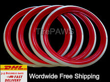 "GENUINE PORT-A-WALL TIRE SIDEWALL R12"" Red White wall Tire Trim Set FIAT 500 600"