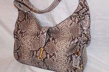 G.I.L.I Classic Leather Hobo - Verona Handbag Purse - Natural Python