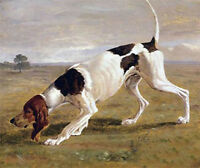 Beautiful Oil painting animal dog Fox Hound in landscape hand painted in oil art