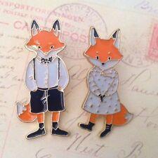 BROOCH Boy and girl fox enamel pin Fashion Xmas jewellery Fun foxy accessory