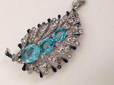 Antique Crown Trifari Fur Clip Book Piece Elegant ART DECO Aquamarine Crystals!