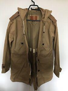 🌈 Massimo Dutti Coat Parka Utility Womens Hooded Beige Long Jacket Size S