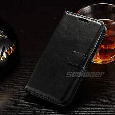 Black Flip Leather Wallet Case Cover For LG Leon 4G LTE H340N H320