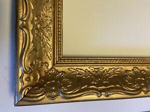 "Vintage All Wood Relief Carved 18"" X 24"" Gold Leaf Painted Frame"