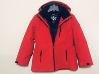 Calvin Klein NWT Size X-Large Women's System Hooded Jacket Coat 3 in 1 Red,Black