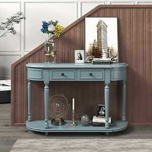 Merax Wooden Console Table with Drawers for Entryway Half Moon Retro Curved Gray