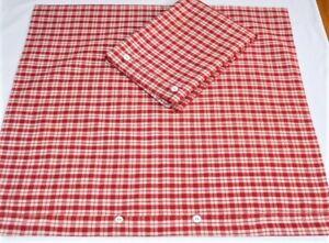 2 Rot weiß karierte Kopfkissen antikes Leinen ungewaschen neu 74 x 78