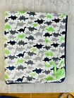Child of Mine Carters Green Gray Dinosaurs Baby Blanket Blue Sherpa Satin Trim
