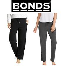 2 x BONDS WOMENS WIDE LEG TRACKIES Trackpants Pants Trackie Black Grey NEW