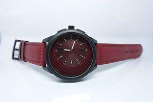 Vive Uhr Armbanduhr Neu Edelstahl Leder Schwarz Rot