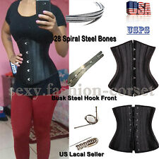 28 Spiral Steel Boned Waist Training Plus Size Underbust Corset Shaperwear UPS