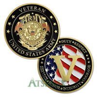 US Army Challenge Coin Veteran Honor Gift Big V Military Collectible Metal Badge
