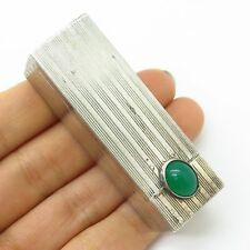 Vtg 800 Silver Green Crystal Striped Texture Lipstick Holder Case With Mirror