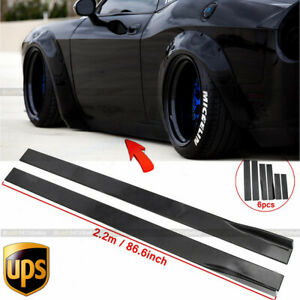 "86.6"" For Dodge Challenger R/T Scat Pack Glossy Black Side Skirts Rocker Panels"
