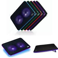 New 2 Fan USB Blue LED Light Laptop Notebook Cooling Cooler Pad Stand Tide