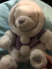 "Winnie the Pooh Bear Plush 12"" Disney Store White Purple Winter Snowflake Disney"