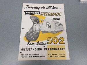 Rare Pettibone Speedmatic 502 Grader Sales Brochure