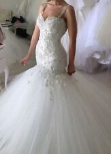 New Mermaid Wedding Dress Lace Tulle Bridal Gown Custom Size 4 6 8 10 12 14 16 +
