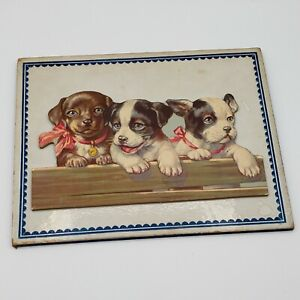 Vintage Picture Three Puppy Dogs wearing Pink Bows Baby Nursery Art