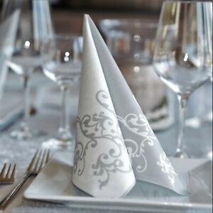50 Airlaid Ornament Pomp Servietten, Silber Weiss Stoffähnlich  Hochzeit Taufe