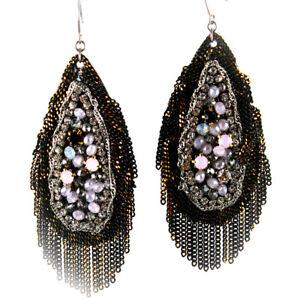 Black Milky Opal Golden Fringe Earrings  5116  SALE:Orig. $65