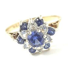 9ct Gold Flower Cluster Ring 2g White Yellow Blue Cubic Zirconia Size K Ladies
