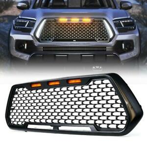 For 2016-2021 Toyota Tacoma Black Front Grille w/ DRL & LED Turn Signal Lights